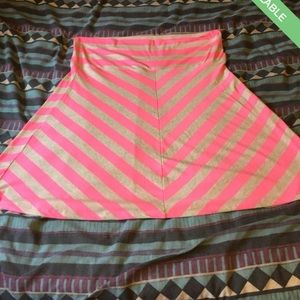Plus size Pink and light brown fold over skirt